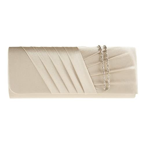 New Long Satin Pleated Evening Clutch Handbag Bag Lots Of Colours ~ Accessorize-me 883, Bridesmaid Wedding