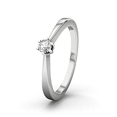 21DIAMONDS Women's Ring Madagascar White Topaz Brilliant Cut 9Ct White Gold Engagement Ring