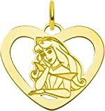 Gold Plated SS Disney Sleeping Beauty Heart Charm