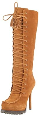 bebe Women's ROWDY Knee-High Boot,Camel Suede,6 M US