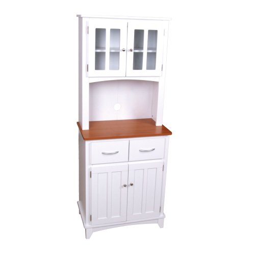 Home Source Industries Brook Tall Microwave Cabinet with 2-Drawer and an Upper and Lower Cabinet, White with Cherry Wood Finish (White Kitchen Cabinets Drawers compare prices)