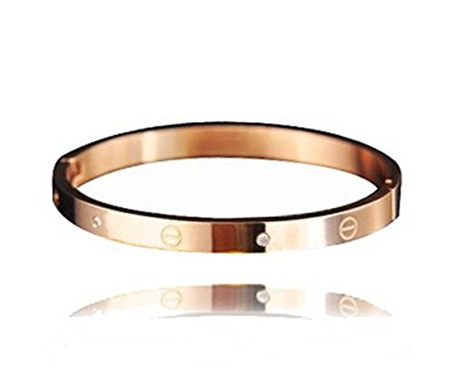 Topstaronline (TM) Rose Gold Inlay Zircon Diamond Screw Bracelet