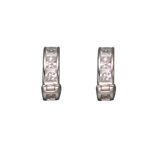 Annalisa's 925 Sterling Silver Hughie Earrings Invisible Set Princess Cut Sparkling CZ Diamonds - Incl. ClassicDiamondHouse Free Gift Box & Cleaning Cloth