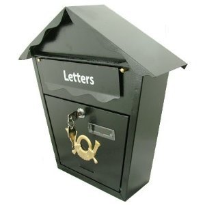 Outside Lockable Black Letter Letterbox Post PostBox