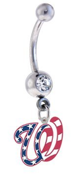 "Washington Nationals ""Stars & Stripes Flag Edition"" MLB Sexy Belly Navel Ring at Amazon.com"