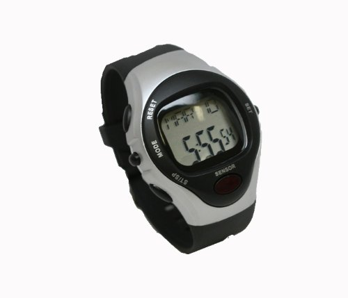 Cheap Pulse Rate Watch in Black and Silver with Heart Rate Monitor (PLSERTEWATCHSLV)