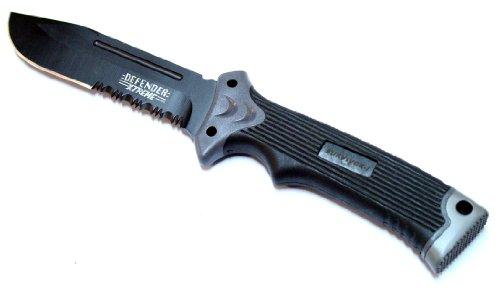 """Survival I Black 11"""" Knife With Blade Sharpener, Fire Starter & Sheath"""