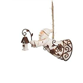 Santa with Bird House Christmas Holiday Ornament