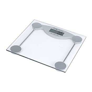 The gs-150 digital bathroom scale features a tempered glass weighing platform with an easy to read lcd. this scale features an auto on function; no tapping required.