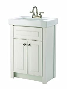 24 inch white bathroom vanity with porcelain top