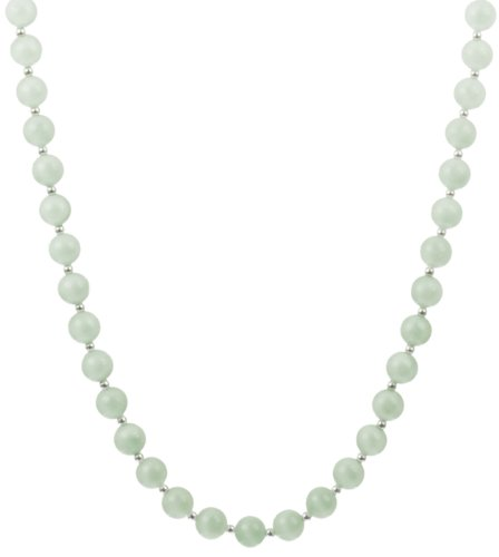 Aquamarine Round Bead and Sterling Silver Bead Necklace with Sterling Silver Lobster Claw Clasp, 24
