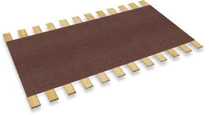 New Full Size Custom Width Bed Slats With A Brown Burlap Fabric Roll - Choose Your Needed Size - Eliminates The Need For A Link Spring Or Box Spring!