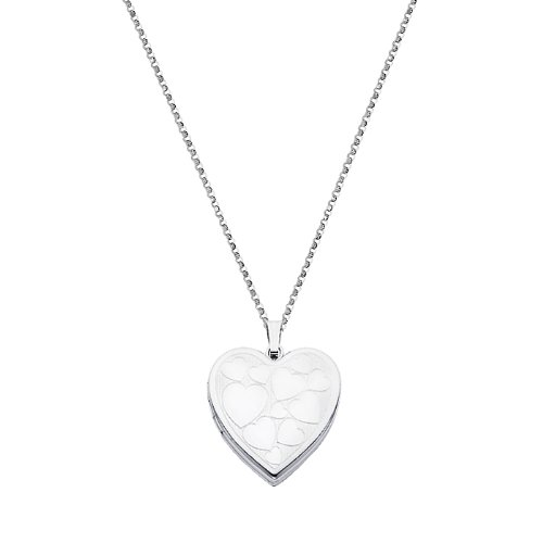 Sterling Silver Engraved Heart Locket Pendant (0.95
