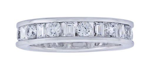 Platinum-Plated Sterling Silver Clear Cubic Zirconia Band Ring, Size 6