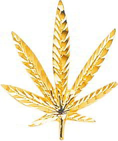 10K Yellow Gold Marijuana Leaf Charm Diamond Cut