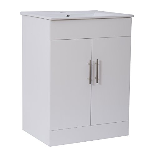 Fancy Hom White Gloss Bathroom Vanity Unit and Ceramic Basin Sink Cloakroom Storage Cabinet Furniture mm