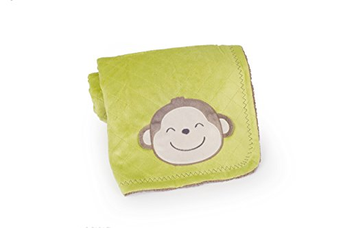 Carter's Velour Sherpa Blanket, Green/Yellow Safari