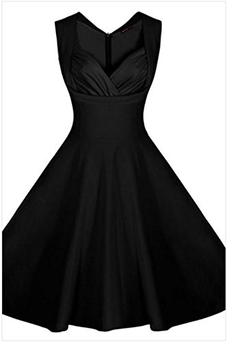 DH-MS Dress Women's Sweetheart Neck Retro Collared Skater Dress