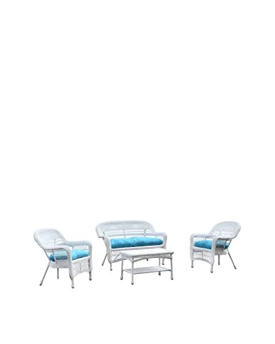 Manhattan Living Portside 4-Piece Outdoor Set, White/Blue