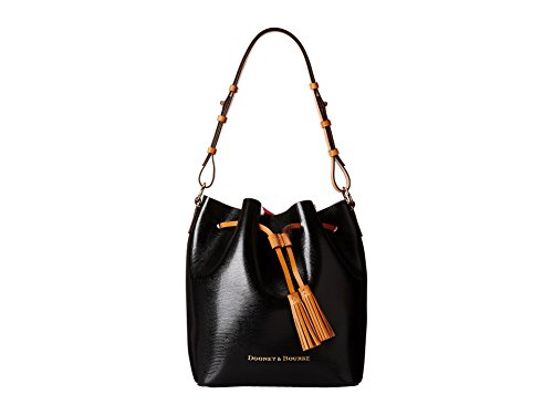 Dooney & Bourke Siena Serena Drawstring Tote,Black/Hot Pink