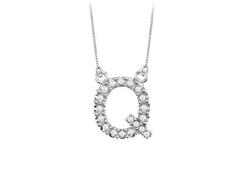 Petite Baby Charm Diamond Q Initial Pendant 14K White Gold - 0.20 Ct Diamonds