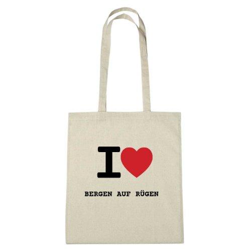 I love BERGEN AUF RÜGEN - Jutebeutel Tasche Beutel Hipster Bag - Farbe: natur