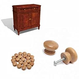 20Pcs Wooden Knob Door Wardrobe Cabinet Drawer Pull Handle Hardware