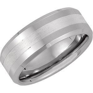Cobalt and Ster. Silver, Polished Beveled Band with Satin Center Wedding Band (sz 8.5)