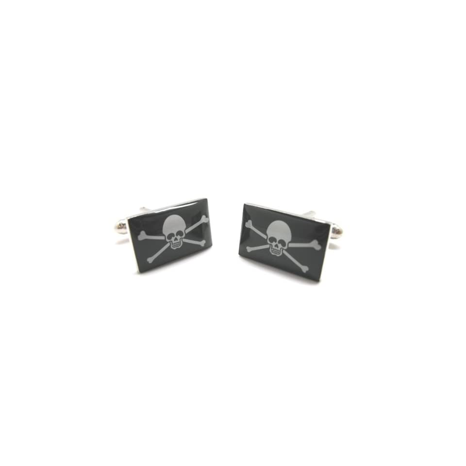 Skull and Cross Bones Cufflinks Cuff Links Jolly Rodger Pirate Flag Black Beard Calico Jack Pirates No Prisoners C1