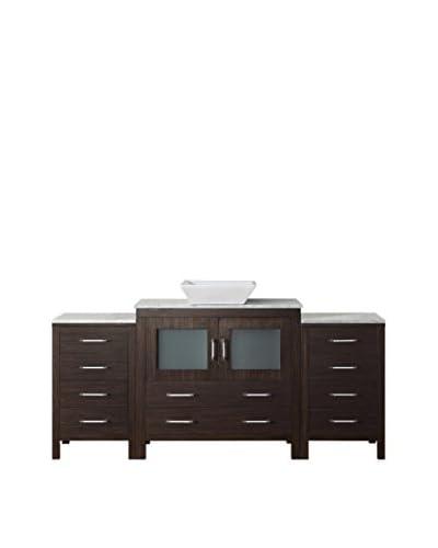 "Virtu USA Dior 66"" Single Bath Vanity Cabinet, Espresso/White Marble"