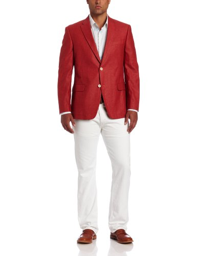 Tommy Hilfiger Men's Trim Fit Seasonal Washed Linen Sport Coat, Red Solid, 42 Regular