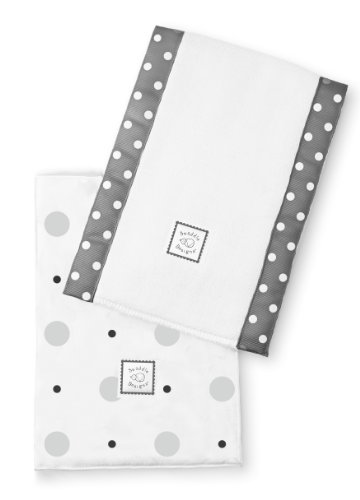 Swaddledesigns Baby Burpies, Big Dot Little Dot (Set Of 2 In Sterling) front-1044166