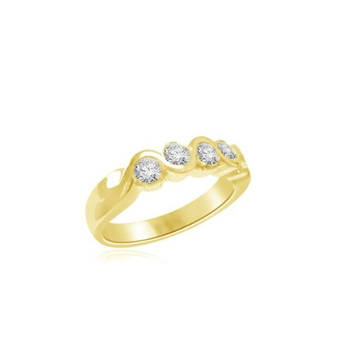 0.60 carat Diamond Half Eternity Ring for Women. G/VS1 Round Brilliant Diamonds in Rub Set Setting in 18ct Yellow Gold