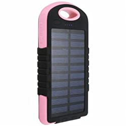 Universal 8000mAh Battery Solar Outdoor Travel Charger Level Indicator DC 5V 2A Power Bank-Pink