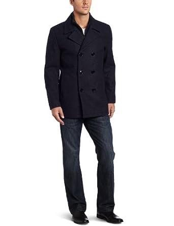 肯尼斯柯尔 Kenneth Cole Men's Pea Coat With Bib 男士羊毛外套蓝$50