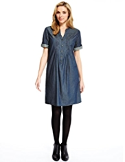 M&S Collection Pure Cotton Pleated Front Denim Dress