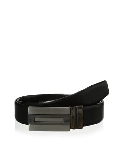 J.Campbell Los Angeles Men's Pebbled & Smooth Plaque Buckle Belt