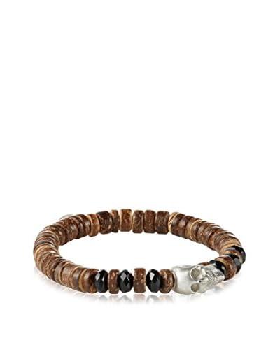 MHart Sterling Silver Skull, Onyx & Coconut Shell Bead Bracelet