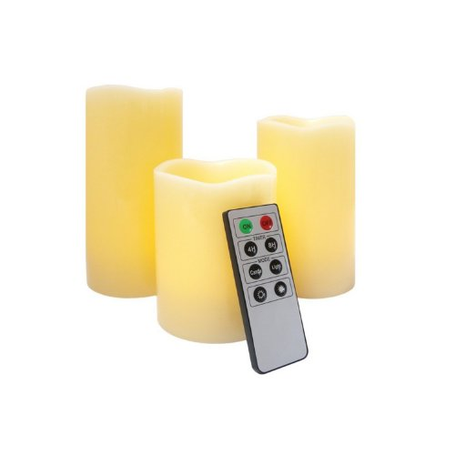 Cozyswan (Tm) Glow Led Ivory Wax 3 Weatherproof Outdoor And Indoor Color Changing Candles With Remote Control & Timer (8 Keys)