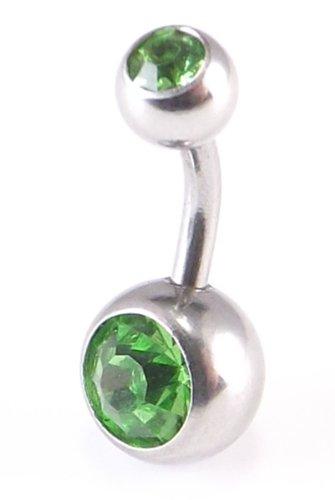 Light Green Double Crystal Gem Belly Navel Bar 14 Gauge x 6mm (D)