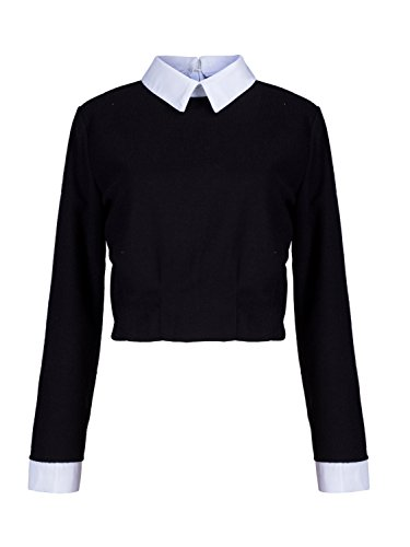 Great Group Halloween Costumes: The Addams Family - Choies Women's Polyester Black Long Sleeve Contrast Collar Crop Blouse Top