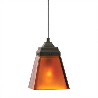 Wilmette Lighting 600Fjmmsnan-Led Mini Mission 1Lt 12-Volt Led Freejack Pendant, Polished Nickel Finish With Amber Glass