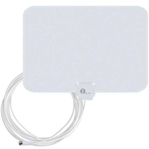 1byone OUS00-0563 Super Thin Indoor HDTV Antenna with 20 Feet High Performance Coaxial Cable – White/Black