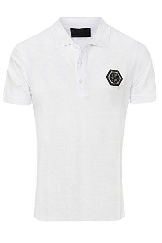 """Philipp Plein Weiß """"Blackheat White"""" Shirt Polo Poloshirt Designer Bedruckt Für Herren und Männer Slim Fit Slim Fit Kragen mit Print und Applikationen (M) thumbnail"""