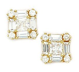 14ct Yellow Gold CZ Medium Princess Baguette Cut Fancy Post Earrings - Measures 9x9mm