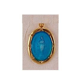 Gold Filled Catholic Miraculous Virgin Mary Blue Enameled Medal Necklace