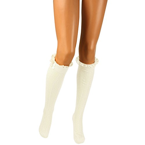 Cotton Sexy Pretty Lace Button Knit Cuffs Liner Topper Knee High Socks White