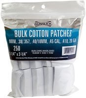 Gunslick 250-Count Bulk Cotton Patches.(38-.45 and .410/20 Gauge)
