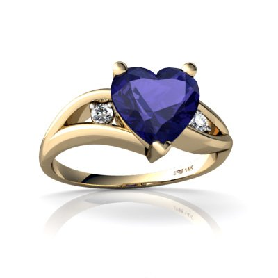 Created Sapphire 14ct Yellow Gold Ring