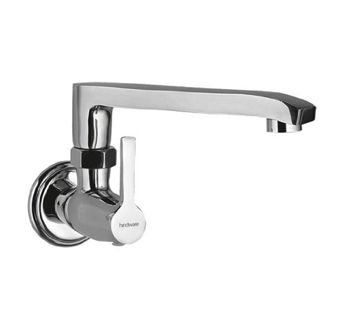 Hindware Barrel Wall Mounted Sink Cock with Swivel Casted Spout (Chrome)
